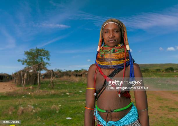 Portrait of a Mumuhuila tribe woman in a field Huila Province Chibia Angola on December 3 2010 in Chibia Angola