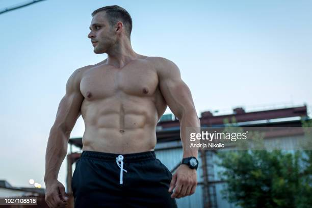 portrait of a muscled man - handsome bodybuilders stock pictures, royalty-free photos & images