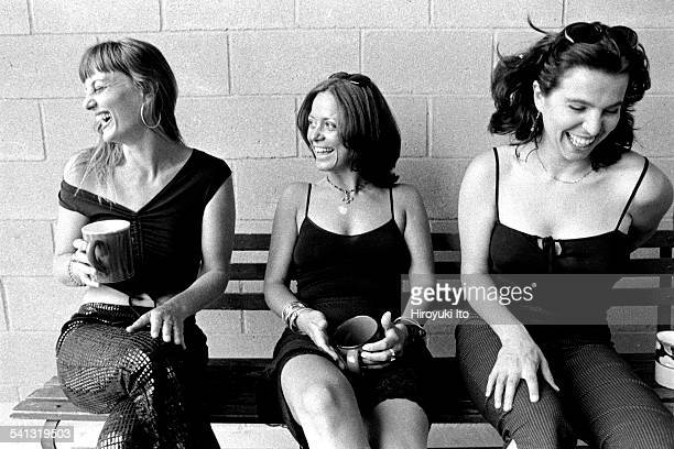 Portrait of a musical group D'Divaz in their Manhattan apartment on July 13, 2000.This image:From left, Danijela Popovic, Milica Paranosic and...