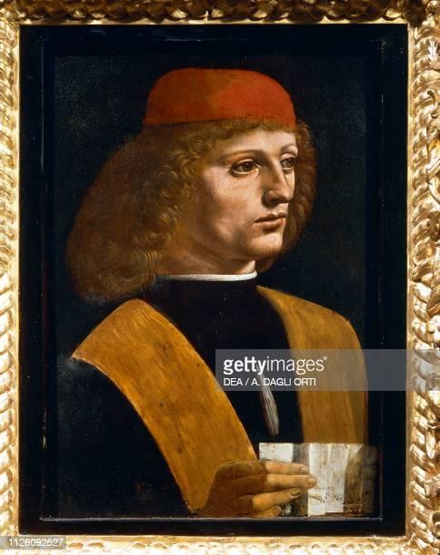 Portrait of a musician by Leonardo da Vinci oil on panel cm 447x32 Detail