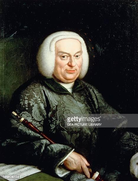 Portrait of a musician with an oboe. 18th century. Berlin, Bildarchiv Preussischer Kulturbesitz