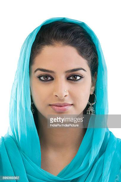portrait of a muslim woman - salwar kameez stock pictures, royalty-free photos & images