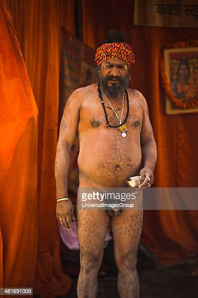 Portrait of a Naga sadhu at Maha Kumbh Allahabad Uttar Pradesh India