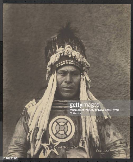 Portrait of a Native American chief Chief Medicine Owl at the McAlpin Hotel New York New York 1913