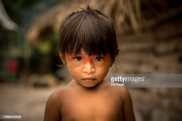 portrait of a native child from tupi guarani ethnicity - brazil stock pictures, royalty-free photos & images