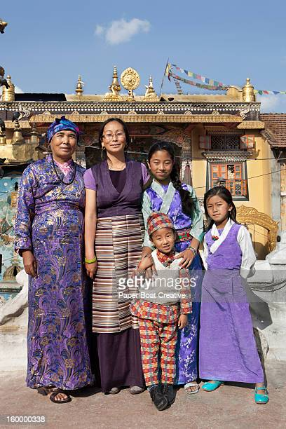 portrait of a nepali family with three generations - nepali mother ストックフォトと画像