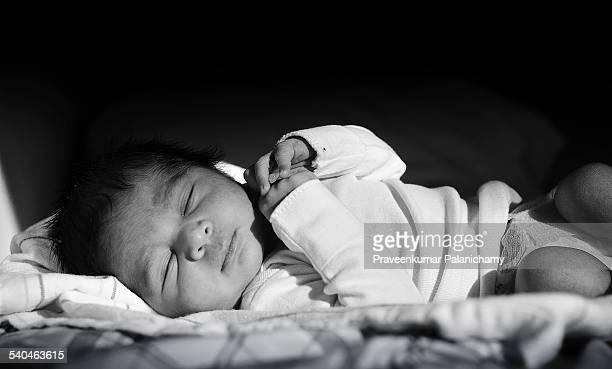 Portrait of a new born baby boy sleeping