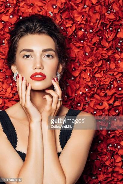 portrait of a nice looking woman - rosaceae stock photos and pictures