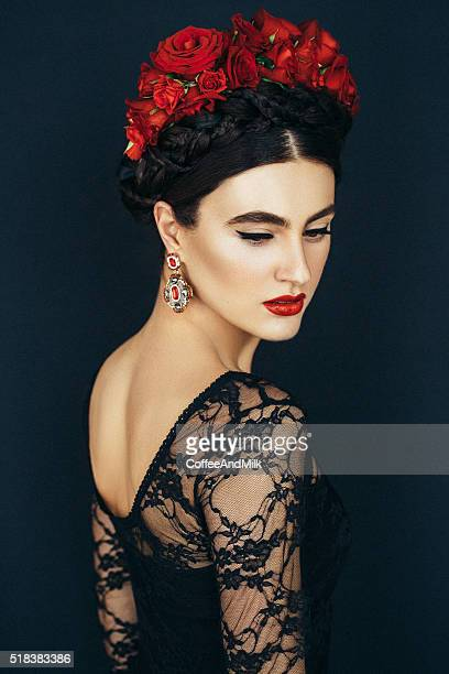 portrait of a nice looking woman - crown headwear stock pictures, royalty-free photos & images