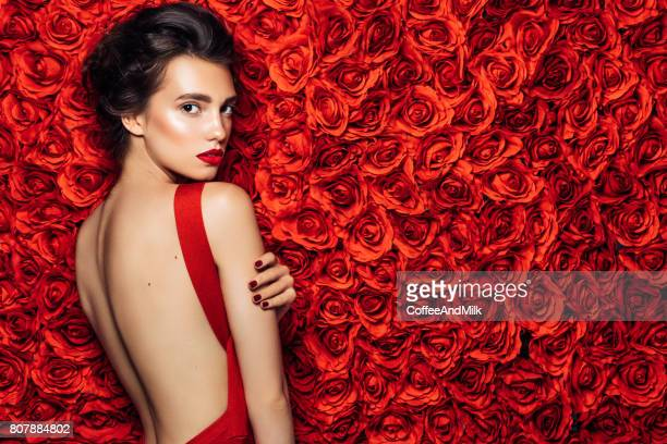 portrait of a nice looking woman - red lipstick stock pictures, royalty-free photos & images