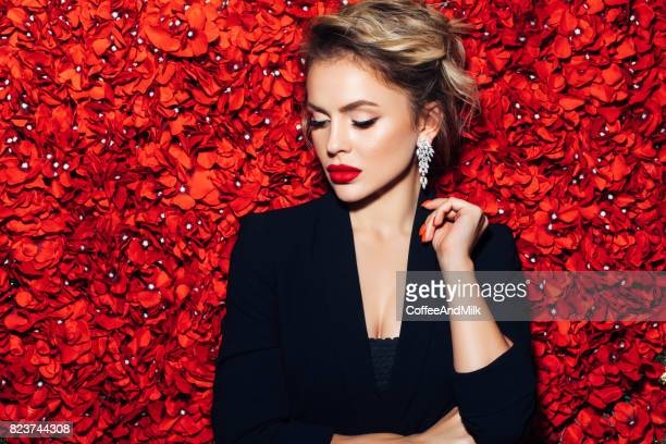 portrait of a nice looking woman - glamour stock pictures, royalty-free photos & images