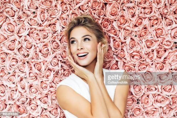 portrait of a nice looking woman - valentine's day stock pictures, royalty-free photos & images