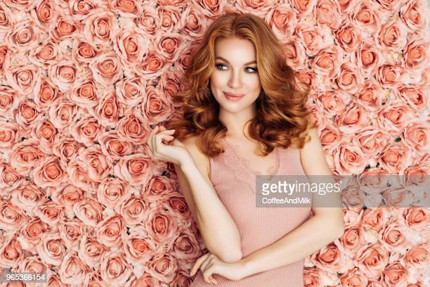 portrait of a nice looking woman - redhead stock pictures, royalty-free photos & images