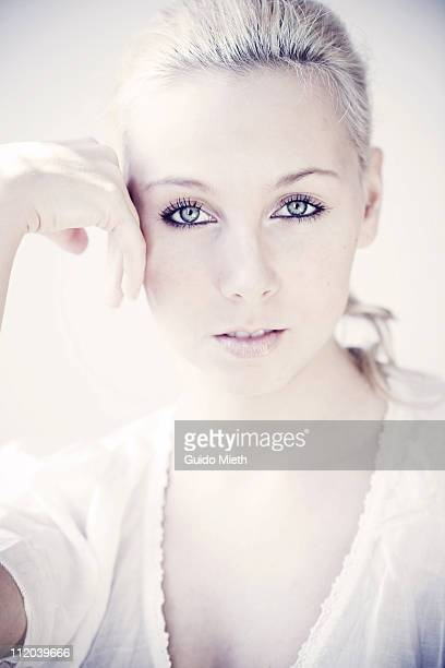 portrait of a nice young women - overexposed stock photos and pictures