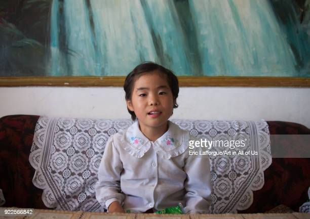 Portrait of a North Korean girl inside her home South Pyongan Province Chonsam Cooperative Farm North Korea on September 12 2011 in Chonsam...