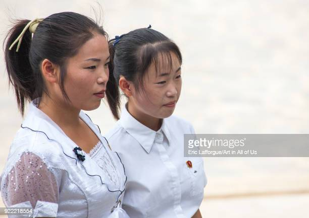 Portrait of a North Korean women in the street North Hwanghae Province Sariwon North Korea on September 10 2008 in Sariwon North Korea