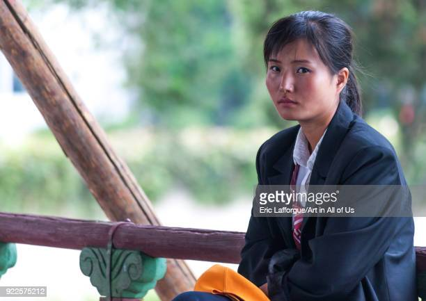 Portrait of a North Korean young woman in the street Pyongan Province Pyongyang North Korea on September 7 2008 in Pyongyang North Korea