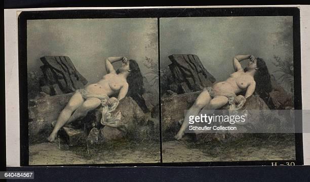 A portrait of a nude woman reclining on a rock ca 18901900 | Location Czech Lands