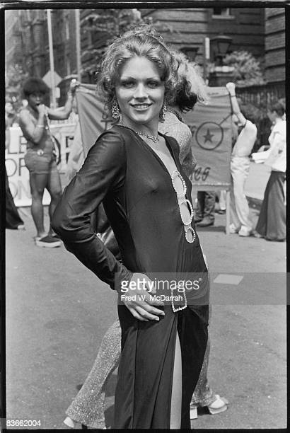 Portrait of a paradegoer at the fourth annual Gay Pride Day March held on the anniversary of the Stonewall demonstrations June 24 1973