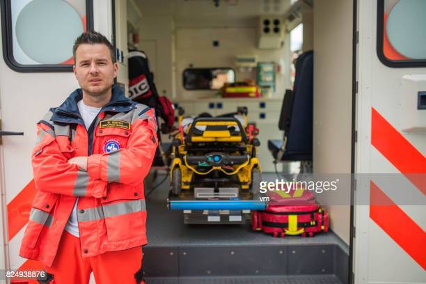 portrait of a paramedic - rescue worker stock pictures, royalty-free photos & images