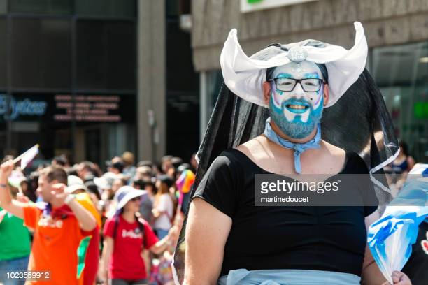 "portrait of a participant of lgbtq pride parade in montreal. - ""martine doucet"" or martinedoucet stock pictures, royalty-free photos & images"