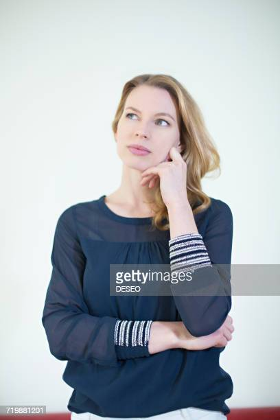 Portrait of a pensive blonde woman