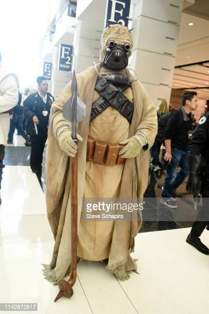 Portrait of a person dressed as a 'Tusken Raider' at the Star Wars Celebration event at Wintrust Arena, Chicago, Illinois, April 13, 2019.