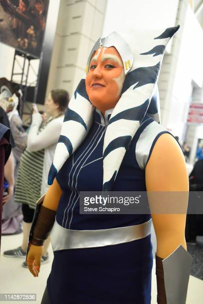 Portrait of a person dressed as 'Ahsoka Tano' at the Star Wars Celebration event at Wintrust Arena, Chicago, Illinois, April 13, 2019.
