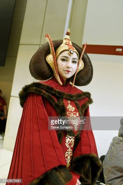 Portrait of a person dressed as 'Padme Amidala' at the Star Wars Celebration event at Wintrust Arena, Chicago, Illinois, April 13, 2019.