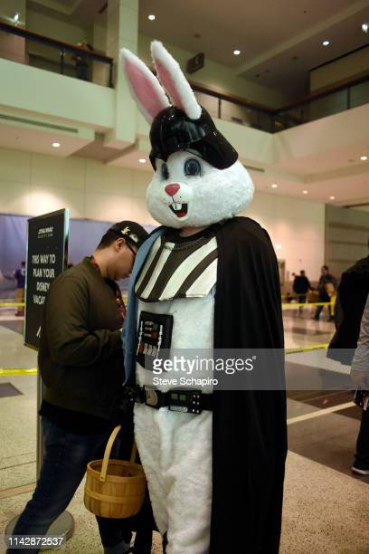 Portrait of a person dressed, simultaneously, as Darth Vader from the 'Star Wars' film series and as the Easter Bunny the Star Wars Celebration event...
