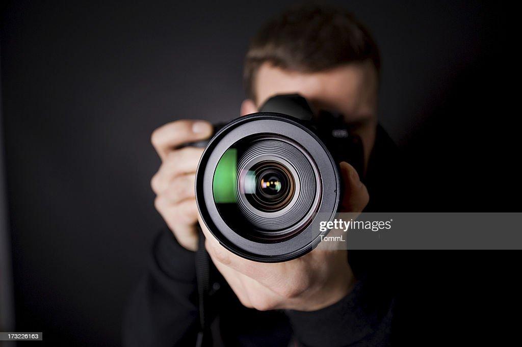 Portrait of a photographer : Stock Photo