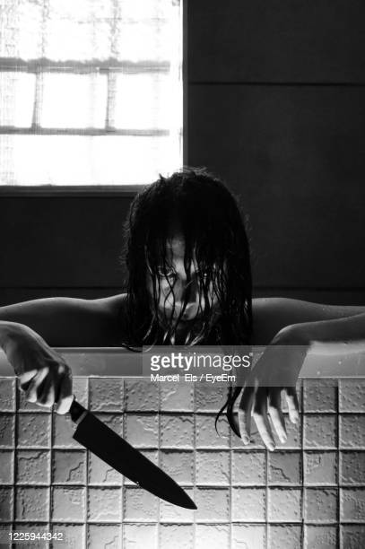 portrait of a phyco - horror movie stock pictures, royalty-free photos & images
