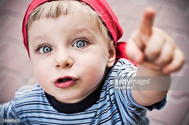portrait of a pointing pirate - baby pointing stock photos and pictures