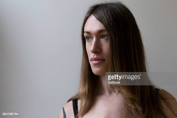 portrait of a pre-op transgender woman - androgynous stock pictures, royalty-free photos & images