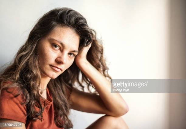 portrait pretty young woman casuals sitting