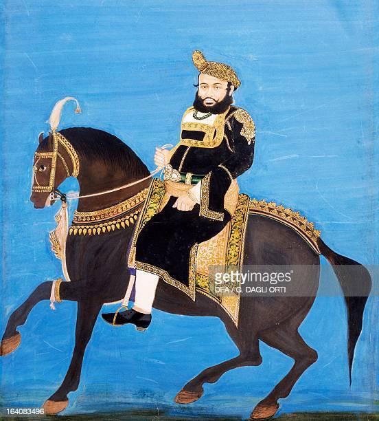 Portrait of a prince on horseback Bengal miniature manuscript India 18th century