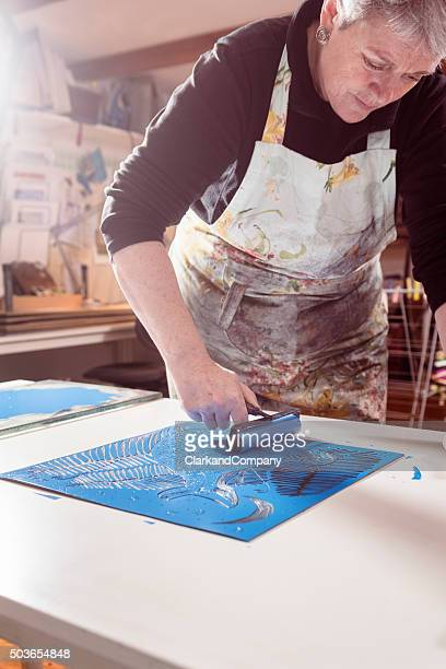 Portrait of a Printmaker Artist At Work