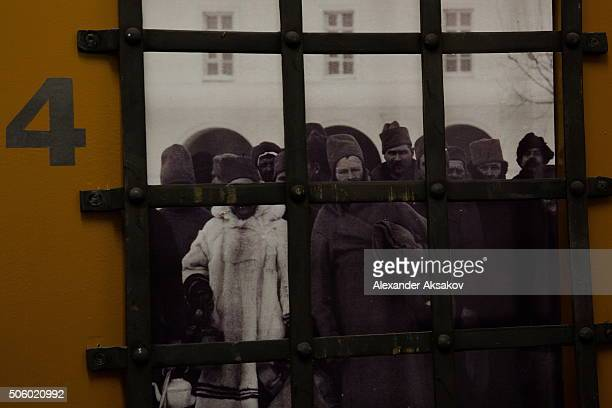 A portrait of a prisoner is seen on a door in the hallway of the hostel in the Prison Castle in city of Tobolsk Russia on January 20 2016 The hostel...