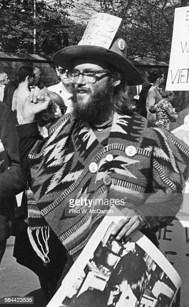 Portrait of a protestor during an antiViet Nam War demonstration on Fifth Avenue New York New York October 17 1965