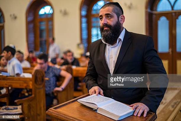 Portrait of a Rabbi praying during Mincha service in the Sixdomed Synagogue in Qrmz Qsb or Red Town Quba district of Azerbaijan on 28 September 2016...