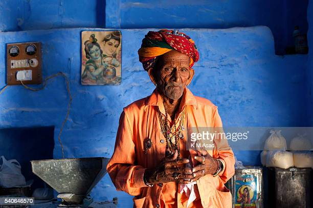 Portrait of a Rajasthan man in Rajasthan India December 05 2013 This city was founded in 1459 People continue to paint their houses blue as they say...