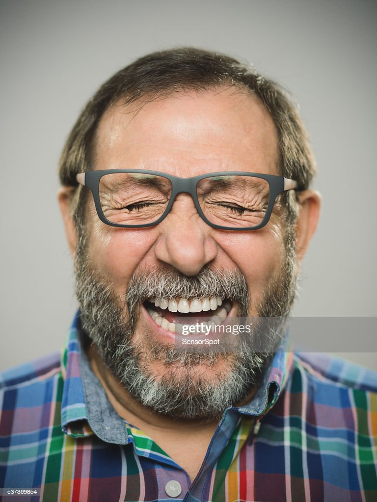 Portrait of a real spanish man with glasses and beard. : Stockfoto