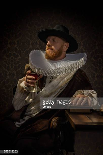 portrait of a redhead traditional dutch nobleman - duke stock pictures, royalty-free photos & images