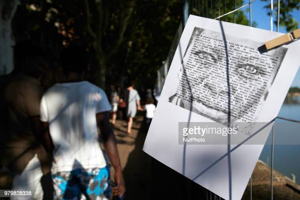 A portrait of a refugee along the 'theatrical deambulation' Several NGOs such as Amnesty International CIMADE Cercle des Voisins etc organized a...