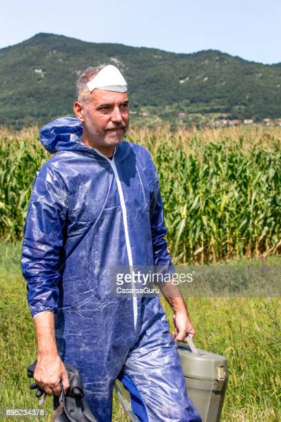 Portrait of a Researcher in Protective Workwear on a Corn Field