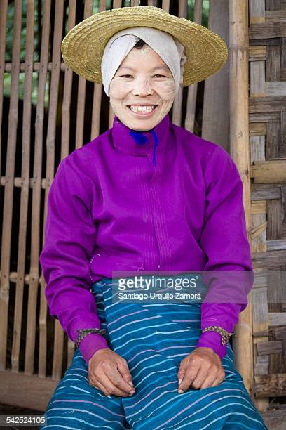 Portrait of a rice farmer with thanaka on her face, Nyaungshwe Township, Taunggyi District, Inle Lake, Shan State, Myanmar