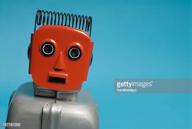 portrait of a robot - wind up toy stock photos and pictures
