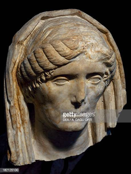 Portrait of a Roman lady marble artefact from the necropolis at Altino near the Via Annia Veneto Italy Roman Civilisation 1st century Quarto D'Altino...