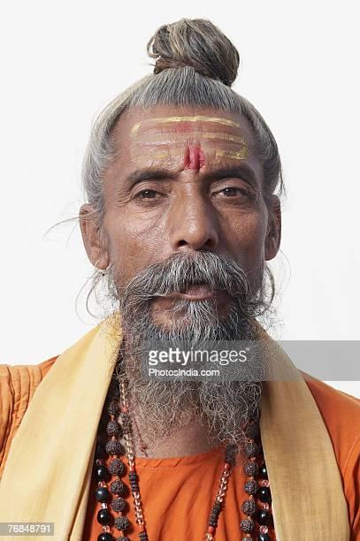 portrait of a sadhu - man bun stock pictures, royalty-free photos & images