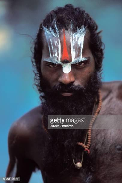 Portrait of a sadhu wearing a tilaka during Maha Kumbh Mela on April 14 1998 in Haridwar Uttarakhand India